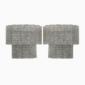 Italienische Mid-Century Wandleuchten aus klarem Muranoglas, 2er Set
