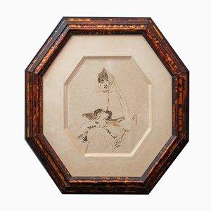 Domenico Morelli, Signed Drawing in Original Bakelite Frame