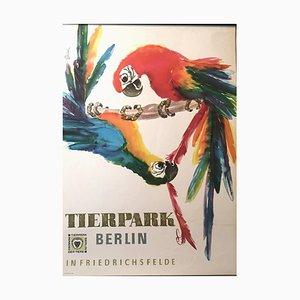 Vintage Tierpark Berlin Zoo Poster mit Ara Papageien, 1960er