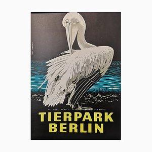 Póster del zoológico de Berlín Tierpark vintage con pelícano, años 70