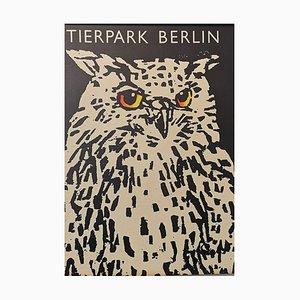 Vintage Tierpark Berlin Zoo Poster Depicting Owl, 1970s