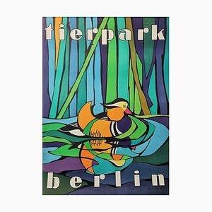 Póster del zoológico de Berlín Tierpark vintage con el pato mandarín, años 70