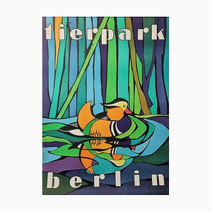 Vintage Tierpark Berlin Zoo Poster mit Mandarinenente, 1970er