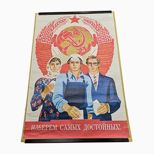Vintage UdSSR Kommunistisches Propagandaposter, 1987