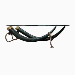Elephant Tusk Table in Bronze from Valenti, 1975