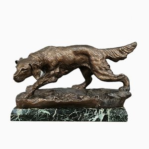 Hunting Dog Sculpture in Patinated Bronze