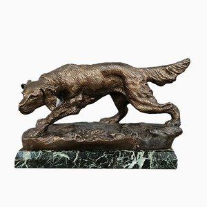 Scultura di cane da caccia in bronzo patinato