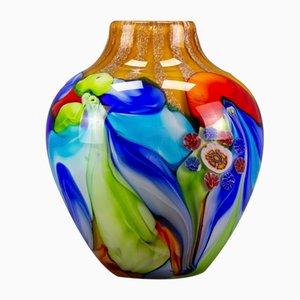 Grand Vase Fleur Millefiori en Verre de Murano, Italie