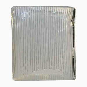 Square Glass Vase with White Stripes from Orrefors, 1970s