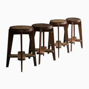 PJ-011012 Chandigarh High Stools by Pierre Jeanneret, India, 1960s