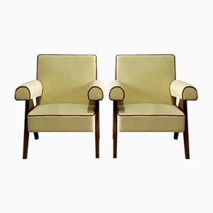 PJ-010806 Chandigarh Lounge Armchairs by Pierre Jeanneret, 1950s, Set of 2