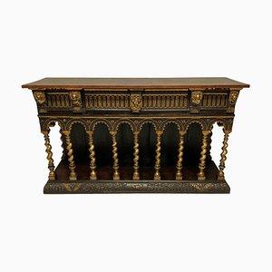 Englisches Vintage Romanisches Holz Sideboard im Stil von William Burges