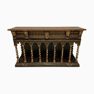 Vintage English Romanesque Wood Sideboard in the Style of William Burges