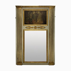 French Painted & Gilded Trumeau Mirror