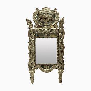 Espejo italiano en forma de hoja de plata, década de 1700