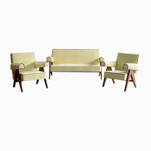 PJ-010806 Chandigarh Easy Lounge Sofa & Armchairs by Pierre Jeanneret, 1950s, Set of 3