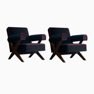 PJ-010806 Easy Lounge Armchairs by Pierre Jeanneret, 1950s, Set of 2