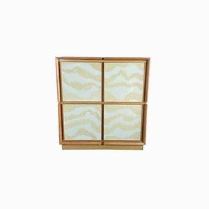 Quadratisches Sideboard mit Gläsern von Mascia Meccani