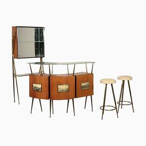 Mobile bar in ottone e vetro impiallacciato in palissandro, anni '50