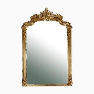 Large Mirror with Gold Leaf Frame, France, 1850s
