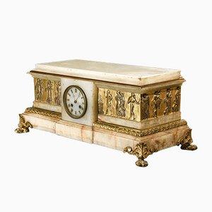 Alabaster Clock in Golden Bronze, 1800s