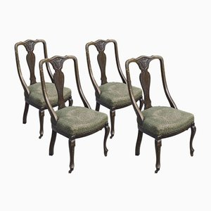Oak Chairs with Arched Backrests, England, 1870s, Set of 4