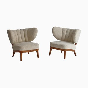 Scandinavian Lounge Chairs in White Boucle by Otto Schulz for Boet, 1940s, Set of 2