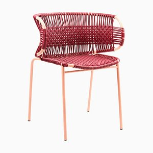 Purple Cielo Stacking Chair with Armrest by Sebastian Herkner