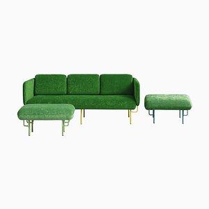 Grand Canapé Alce Vert et 2 Grands Ottomanes par Chris Hardy