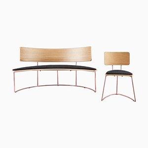 Set of Boomerang Bench & Chair in Black by Cardeoli