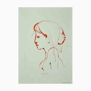 Leo Guida, Portrait, Original Zeichnung, 1970