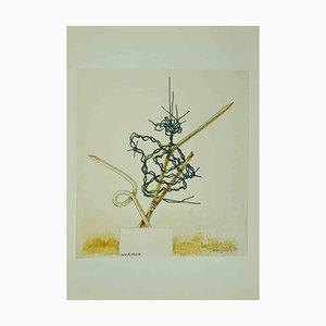 Leo Guida, Composition Abstraite, Dessin Original, 1970