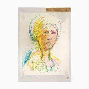 Leo Guida, Portrait, Dessin Original, 1957