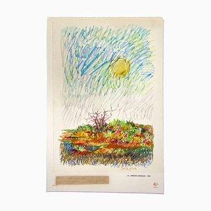 Leo Guida, Landschaft, Originalzeichnung, 1968