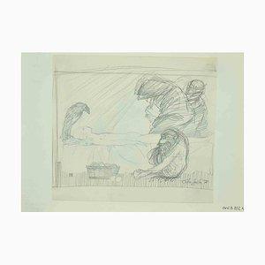 Leo Guida, Nude, Original Zeichnung, 1970