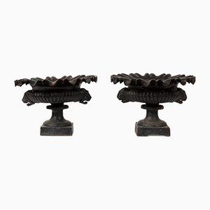 Schwarze Urnen aus Gusseisen, 19. Jh., 2er Set
