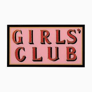 Handbemalte Rot und Rosa Blattgold Girls Club Schild