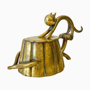 Small Art Deco Brass Cat Box by Karl Hagenauer, Austria