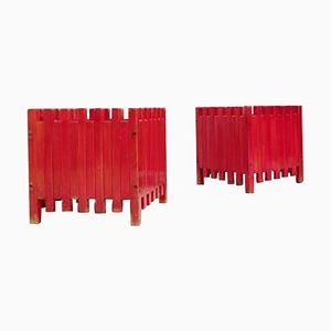 Mid-Century Red Planters by Ettore Sottsass for Poltronova, Italy, 1961