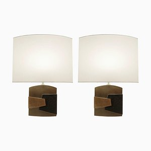 Bronze Table Lamps by Esa Fedrigolli, Italy, 1970s, Set of 2
