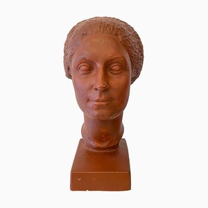 Plaster Bust of a Woman with Short Hair by Claudius Linossier, 1927