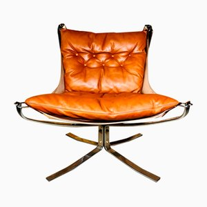 Vintage Leather Low Back Falcon Chair by Sigurd Russell