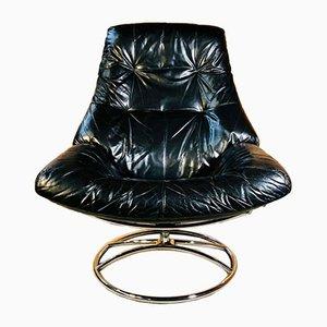 Dänischer Vintage Ekornes Lehnsessel & Hocker aus schwarzem Leder von Stressless, 2er Set