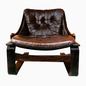 Vintage Danish Lounge Chair in Coco Leather and Rosewood