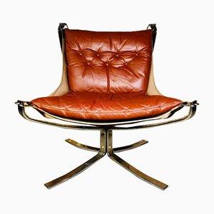 Vintage Leder Falcon Chair mit niedriger Rückenlehne von Sigurd Russell