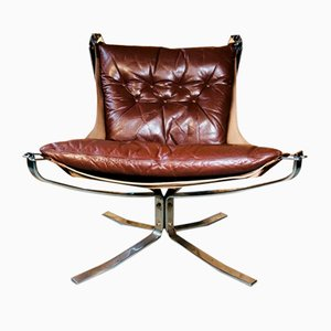 Vintage Leather Low Back Chrome Falcon Chair by Sigurd Russell