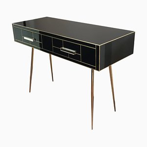 Italian Two-Drawer Mirrored and Brass Writing Desk