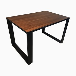 Rectangular Iron Cube Table with Embedded Wood Top