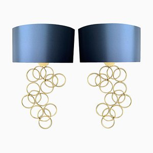 Metal Gold Sconces with Blue Silk Shade, Set of 2