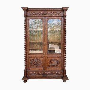 Antique French Carved Oak Vitrine Cabinet